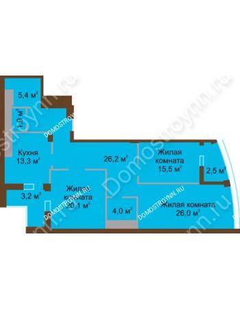 3 комнатная квартира 118,1 м² в ЖК Монолит, дом № 89, корп. 1, 2