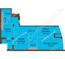 3 комнатная квартира 118,1 м² в ЖК Монолит, дом № 89, корп. 1, 2 - планировка