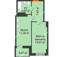 1 комнатная квартира 43,27 м² в ЖК Аврора, дом № 1 - планировка