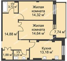 2 комнатная квартира 68,18 м² в ЖК Премиум, дом №1