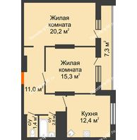 2 комнатная квартира 70 м², ЖК Космолет - планировка