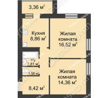 2 комнатная квартира 55,98 м² - ЖК Буревестник