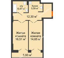 2 комнатная квартира 60,91 м², ЖК Штахановского - планировка