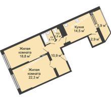2 комнатная квартира 80,3 м² в ЖК Монолит, дом № 89, корп. 3 - планировка
