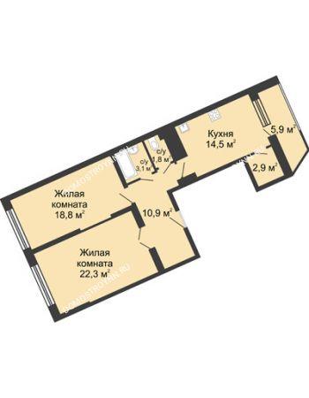 2 комнатная квартира 80,3 м² в ЖК Монолит, дом № 89, корп. 3