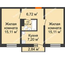 2 комнатная квартира 47,36 м² в ЖК Корабли, дом № 9-2 - планировка