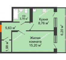 1 комнатная квартира 38,45 м², ЖК 9 Ярдов - планировка