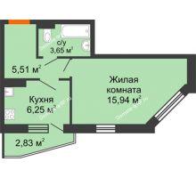 1 комнатная квартира 32,76 м², ЖК 9 Ярдов - планировка