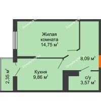 1 комнатная квартира 36,97 м² в ЖК Семейный парк, дом Литер 2 - планировка