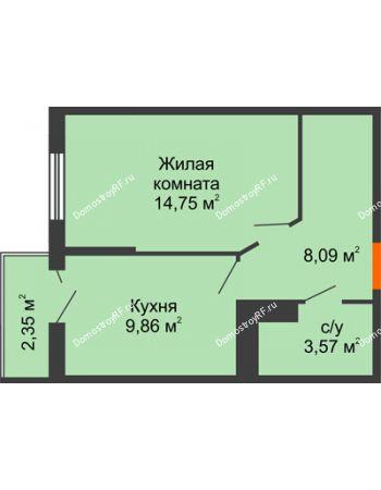 1 комнатная квартира 36,97 м² в ЖК Семейный парк, дом Литер 2