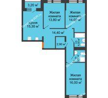 3 комнатная квартира 85,4 м² в ЖК НОРД, дом № 13 - планировка