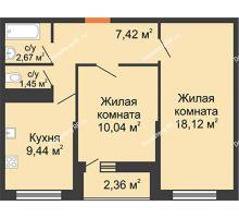 2 комнатная квартира 50,05 м² в ЖК Рекорд, дом 2 этап - планировка