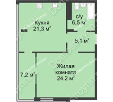 1 комнатная квартира 64,6 м² в ЖК Славянский квартал, дом № 5а, 7