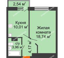 1 комнатная квартира 37,64 м² - ЖК Зеленый берег Life