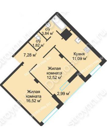 2 комнатная квартира 56,06 м² в ЖК На Вятской, дом № 3 (по генплану)