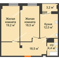 2 комнатная квартира 74,2 м² в ЖК Квартет, дом № 3 - планировка