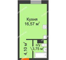 Студия 24,42 м², ЖК Зеленый берег Life - планировка