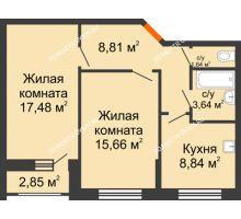 2 комнатная квартира 57,5 м², Жилой дом: ул. Сухопутная - планировка