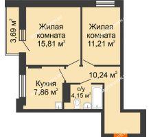 2 комнатная квартира 51,12 м², Жилой дом: ул. Сухопутная - планировка
