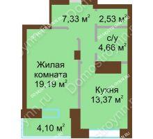 1 комнатная квартира 51,18 м² - ЖК Подкова Приокская