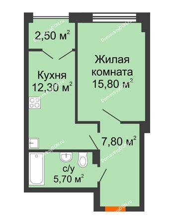 1 комнатная квартира 44,3 м² - ЖК Гагарин