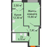1 комнатная квартира 44,3 м², ЖК Гагарин - планировка