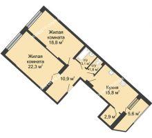 2 комнатная квартира 81,1 м² в ЖК Монолит, дом № 89, корп. 3 - планировка