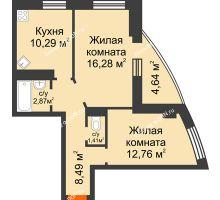 2 комнатная квартира 54,42 м² в ЖК Звезда, дом № 1 - планировка