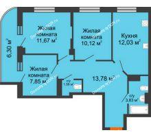 3 комнатная квартира 64,27 м², ЖК Марксистский - планировка