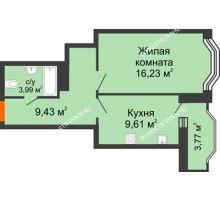 1 комнатная квартира 41,15 м², ЖК Каскад на Менделеева - планировка