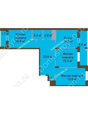 3 комнатная квартира 100,1 м² в ЖК Монолит, дом № 89, корп. 1, 2