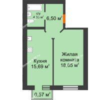1 комнатная квартира 45,74 м² в ЖК Португалия, дом № 21 - планировка