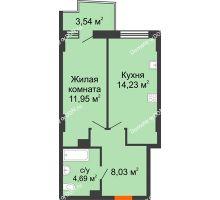 1 комнатная квартира 39,96 м² в ЖК Сердце Ростова 2, дом Литер 6 - планировка