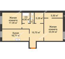 2 комнатная квартира 94,84 м², ЖК Дом на Троицкой - планировка