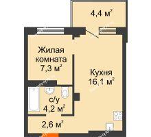 2 комнатная квартира 31,5 м² в ЖК Серебряный, дом Квартал 1, дом №3 - планировка