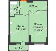 1 комнатная квартира 43,46 м², ЖК Орбита - планировка