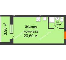 Студия 27,8 м² в ЖК Сиреневый квартал, дом Секция 1 - планировка