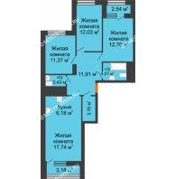3 комнатная квартира 84,45 м² в ЖК Дом на Набережной, дом № 1 - планировка