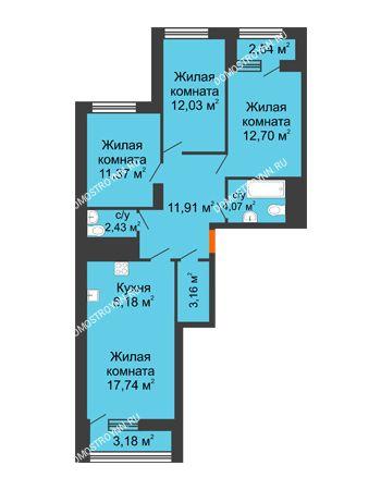 3 комнатная квартира 84,45 м² в ЖК Дом на Набережной, дом № 1