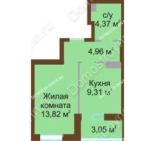 1 комнатная квартира 34,4 м² в ЖК Красная поляна, дом № 2
