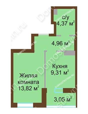 1 комнатная квартира 34,8 м² в ЖК Красная поляна, дом № 2