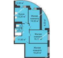 3 комнатная квартира 84,9 м² в ЖК Вересаево, дом Литер 9/2 - планировка