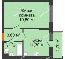1 комнатная квартира 40,9 м² в ЖК Династия, дом Литер 2 - планировка