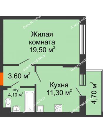 1 комнатная квартира 40,9 м² в ЖК Династия, дом Литер 2