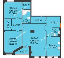 3 комнатная квартира 123,59 м² в ЖК Дом на Провиантской, дом № 12 - планировка