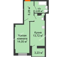 1 комнатная квартира 40,83 м² в ЖК Аврора, дом № 2 - планировка
