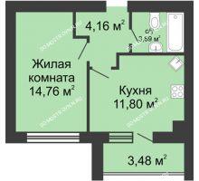 1 комнатная квартира 36,15 м² в ЖК Парк Горького, дом 62/2, №4