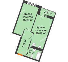 1 комнатная квартира 45,2 м² в ЖК Журавли, дом №2 - планировка