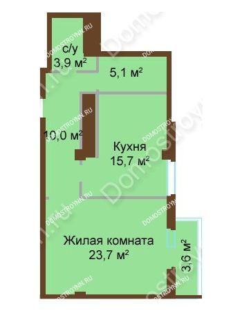 1 комнатная квартира 61,1 м² - ЖК Бояр Палас