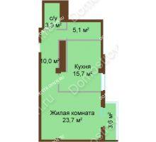 1 комнатная квартира 61,1 м², ЖК Бояр Палас - планировка